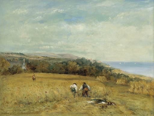 Harvesters In A Cornfield On The Isle Of Wight by Frederick Waters Watts (1800-1870, United Kingdom)