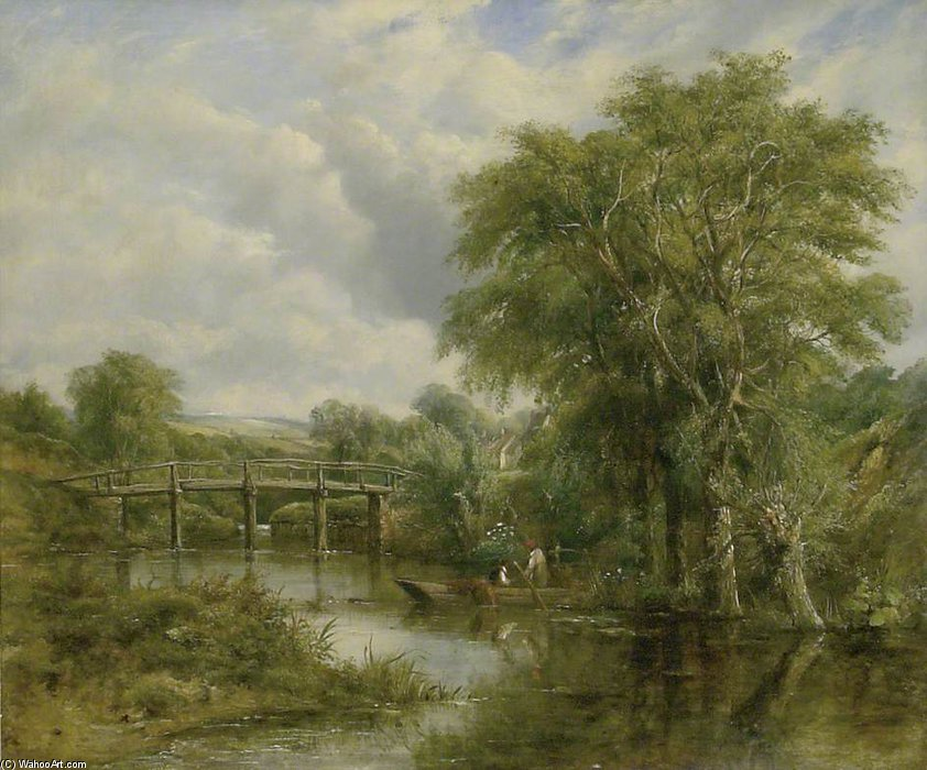 River Landscape by Frederick Waters (William) Watts (1800-1870, United Kingdom) | Paintings Reproductions Frederick Waters (William) Watts | ArtsDot.com