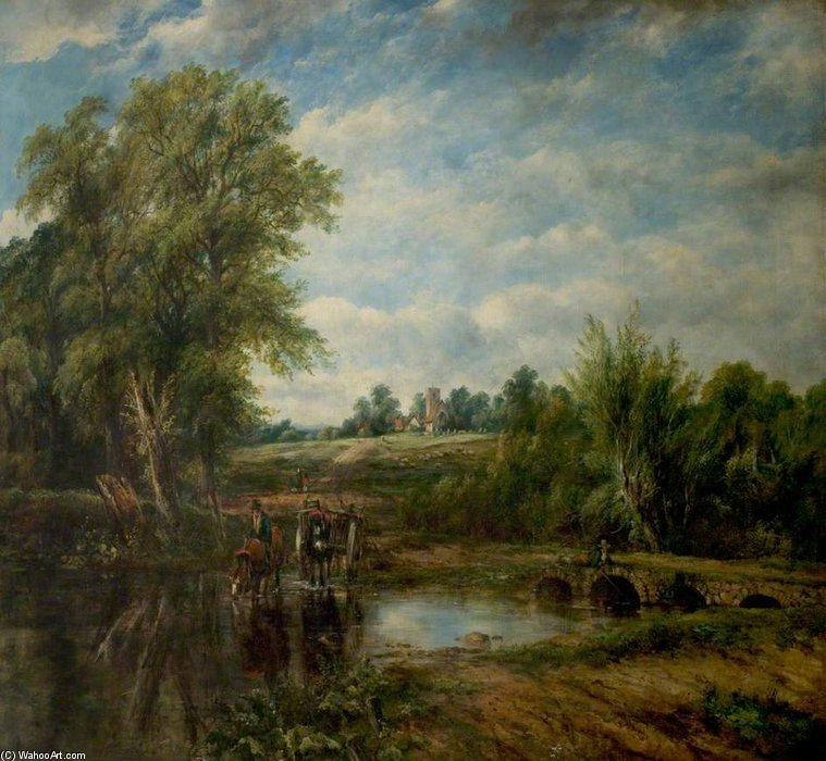 The Ford by Frederick Waters Watts (1800-1870, United Kingdom)