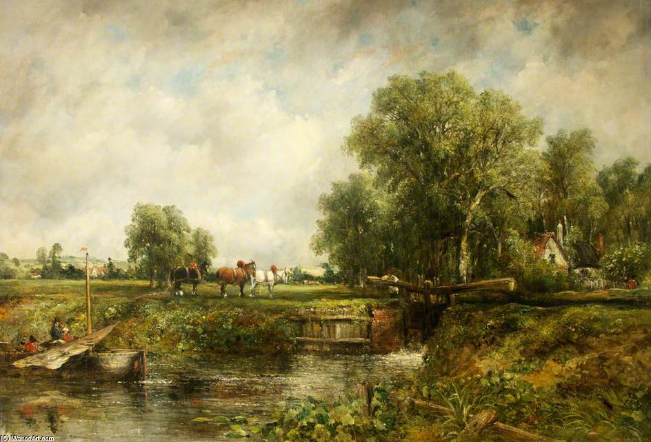 The Lock by Frederick Waters (William) Watts (1800-1870, United Kingdom)