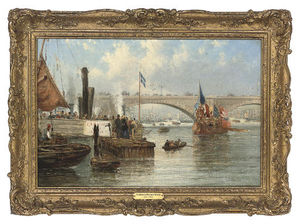 Frederick Waters (William) Watts - The Mayoral Barge At London Bridge