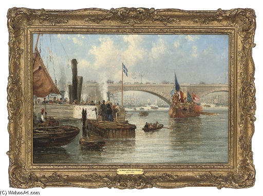 The Mayoral Barge At London Bridge by Frederick Waters Watts (1800-1870, United Kingdom)