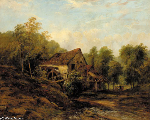 The Old Water Mill by Frederick Waters Watts (1800-1870, United Kingdom)
