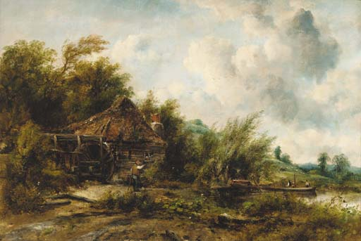 The Watermill by Frederick Waters (William) Watts (1800-1870, United Kingdom)