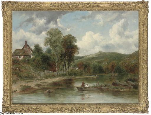 Wooded Landscape With Figures In A Boat, Cottages Beyond by Frederick Waters (William) Watts (1800-1870, United Kingdom)