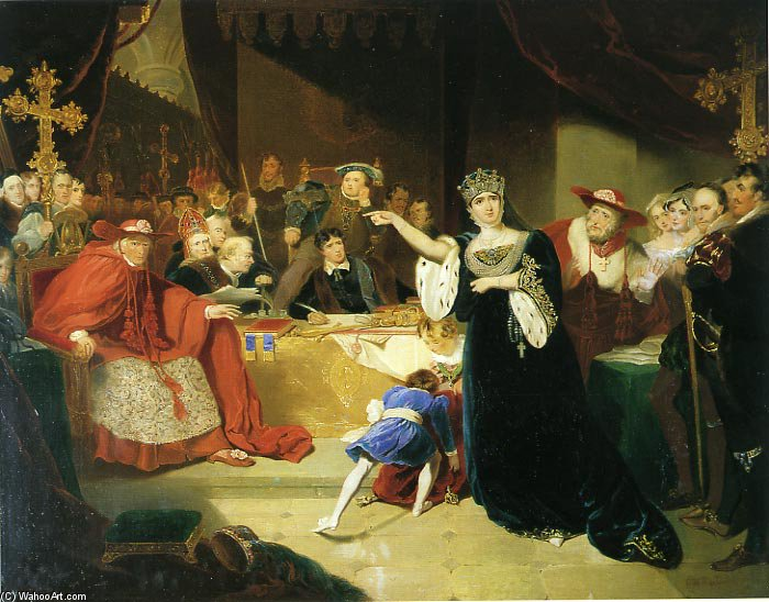 Court For The Trial Of Queen Katharine by George Henry Harlow (1787-1819, United Kingdom)