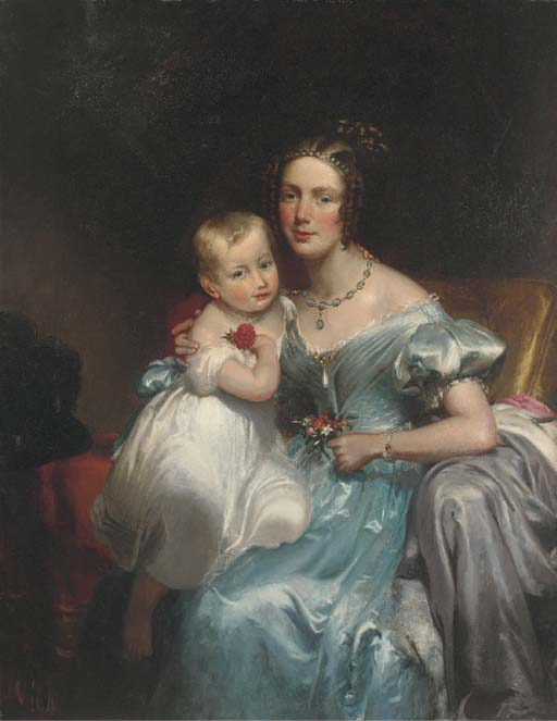 Portrait Of A Mother And Child, Seated Three-quarter-length by George Henry Harlow (1787-1819, United Kingdom)
