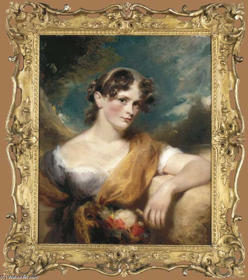Portrait Of Miss Caroline Hopwood, Half-length, In A Purple And White Dress by George Henry Harlow (1787-1819, United Kingdom)
