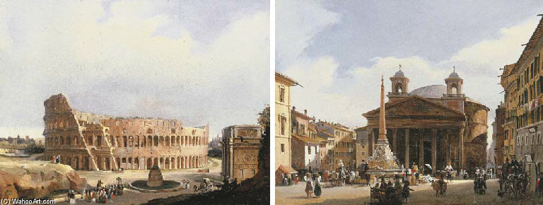 The Colisseum, Rome; And The Pantheon, Rome by Guiseppe Canella (1788-1847, Italy)