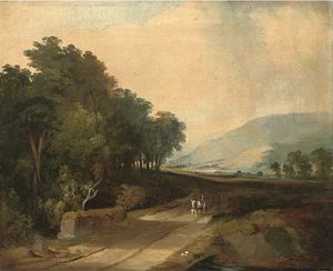 James Arthur O Connor - A Horse And Cart On A Track In An Extensive River Valley