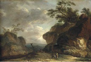 James Arthur O Connor - A Rocky Wooded Landscape With Figures By The Side Of A Track And A Herdsman And Livestock Beyond