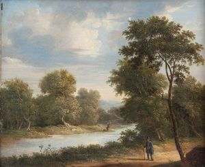 James Arthur O Connor - A Traveler On A Riverside Road With A Fisherman In The Distance