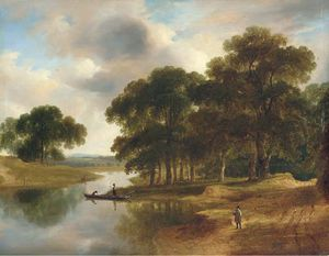 James Arthur O Connor - A Wooded River Landscape With A Figure On A Path In The Foreground And Figures In Boats On The River Beyond