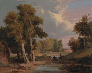 James Arthur O Connor - A Wooded River Landscape With Fishermen