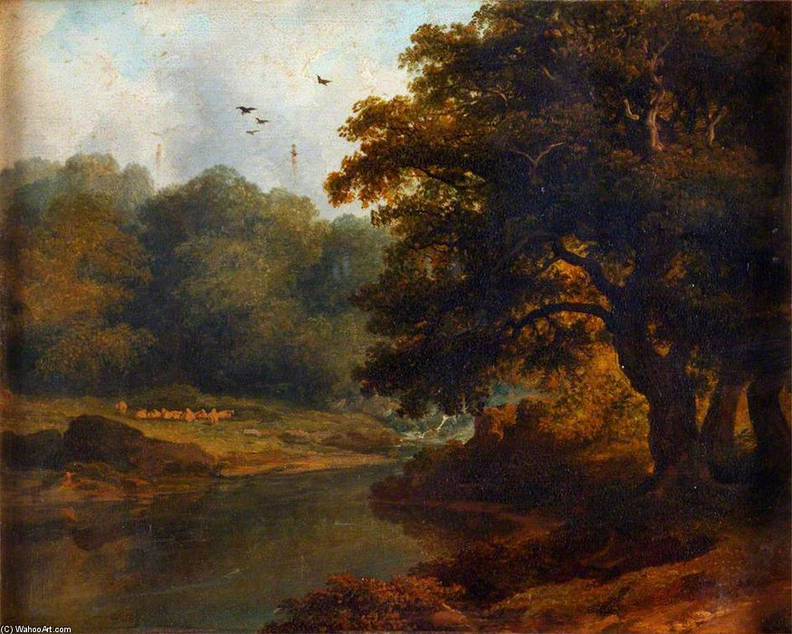 Landscape With A Stream And Woods by James Arthur O Connor (1792-1841, Ireland) | Art Reproduction | ArtsDot.com