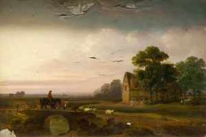 James Arthur O Connor - Landscape With Sheep And A Horseman