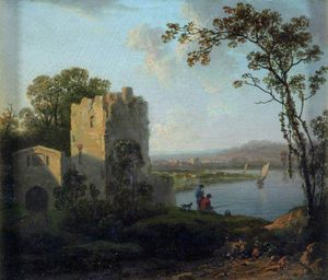 James Arthur O Connor - Ower On The Bank Of A River With Two Men Fishing