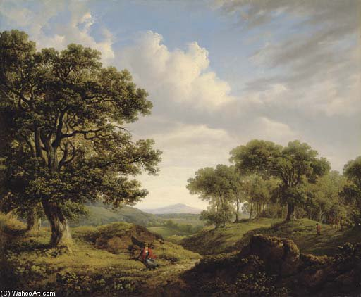 Wooded Landscape With A Figure Resting By A Path In The Foreground by James Arthur O Connor (1792-1841, Ireland) | Painting Copy | ArtsDot.com