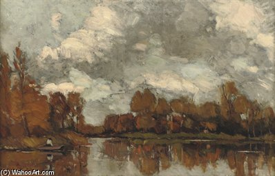 An Autumnal Afternoon Along The River Vecht by Nicolaas Bastert (1854-1939, Netherlands)