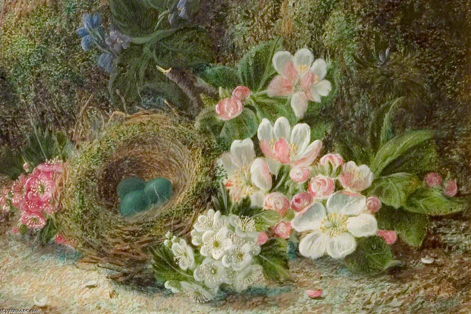 Bird's Nest With Apple And Hawthorn Blossom by Oliver Clare (1853-1927, United Kingdom)