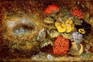 Oliver Clare - Flowers And Bird's Nest With B..