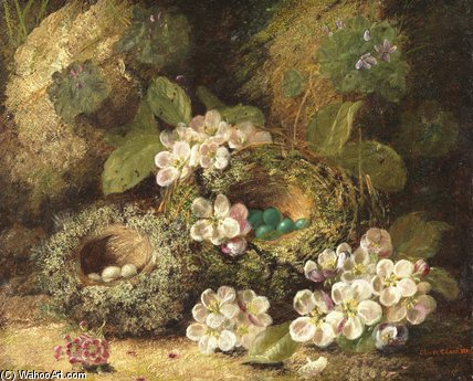 Primroses And Bird's Nests On A Mossy Bank by Oliver Clare (1853-1927, United Kingdom)
