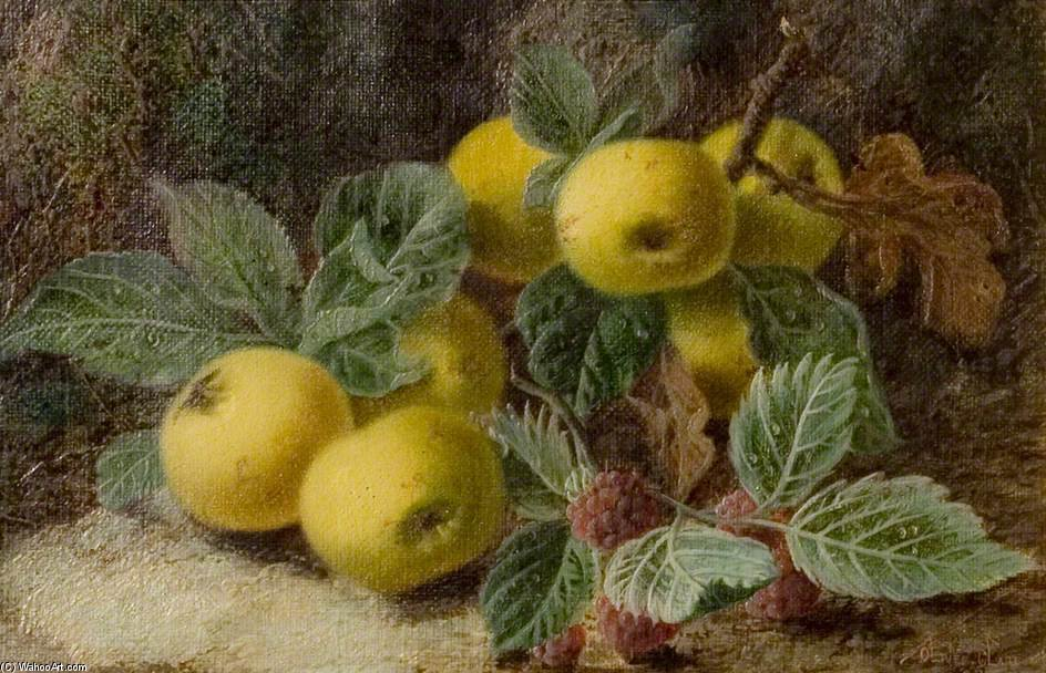 Quince And Blackberries by Oliver Clare (1853-1927, United Kingdom)