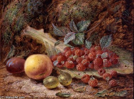 Still Life With Fruit On A Cabbage Leaf by Oliver Clare (1853-1927, United Kingdom)