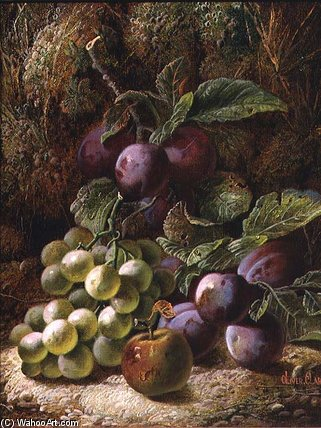Still Life With Plums And Grapes by Oliver Clare  (order Fine Art hand made painting Oliver Clare)