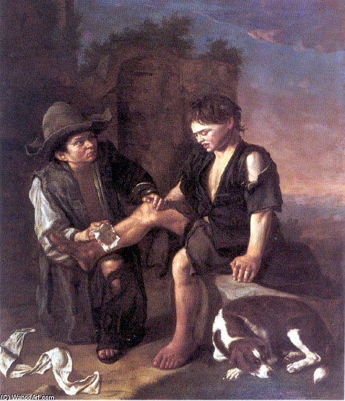 A Landscape With Two Beggar-boys And A Dog Beside Architectural Ruins by Pedro Núñez De Villavicencio (1635-1700, Spain)