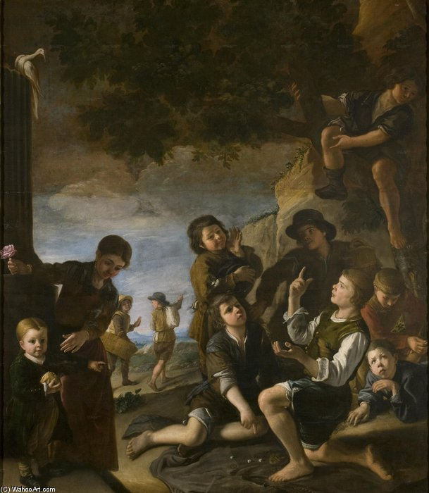 Children Are Playing With Dice by Pedro Núñez De Villavicencio (1635-1700, Spain)