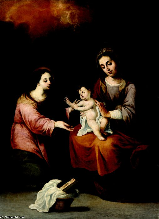 Saint Anne, The Virgin And Child by Pedro Núñez De Villavicencio (1635-1700, Spain)