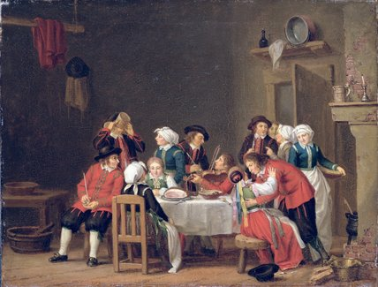 Convivial Scene In A Peasant's Cottage by Pehr Hillestrom (1732-1816, Sweden)
