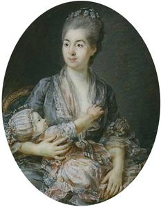 Peter Adolf Hall - Portrait Of Marie-suzanne Roslin With Her Daughter