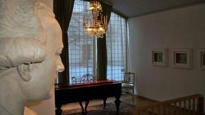 Peter Adolf Hall - The Painter-s Bust Seemingly Viewing A Shady Angle Of Room