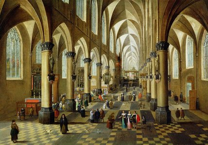 Figures Gathered In A Church Interior by Pieter Neefs The Elder (1620-1675) | Art Reproduction | ArtsDot.com