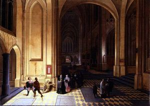 Pieter Neefs The Elder - Interior Of A Cathedral With A Beggar