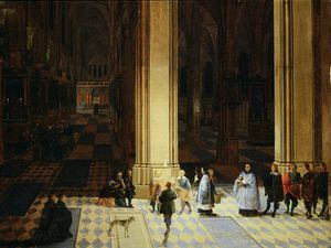 Peeter Neeffs The Elder - Interior Of Antwerp Cathedral By Night
