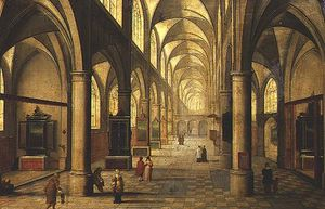 Peeter Neeffs The Elder - Interior Of Cathedral With Figures