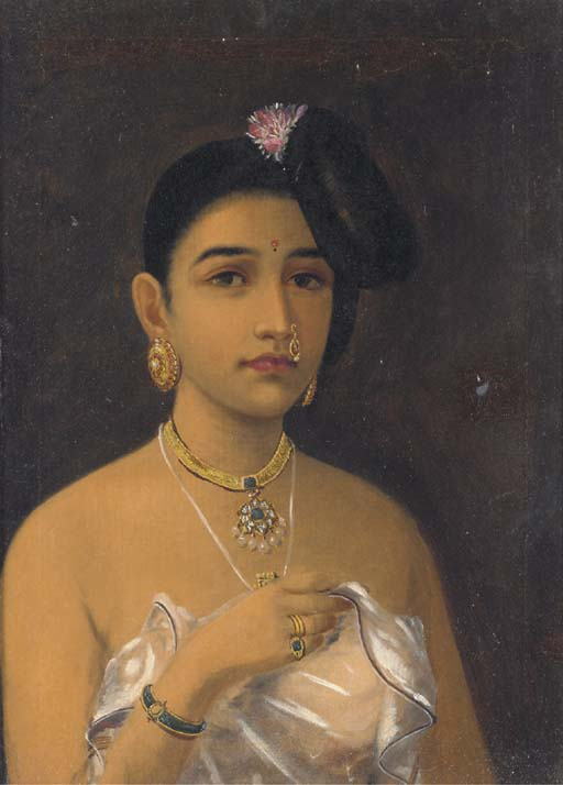 Maliyali Beauty by Raja Ravi Varma (1848-1906, India)