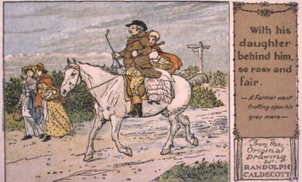 A Farmer Went Trotting Upon His Grey Mare - by Randolph Caldecott (1846-1886, United Kingdom)