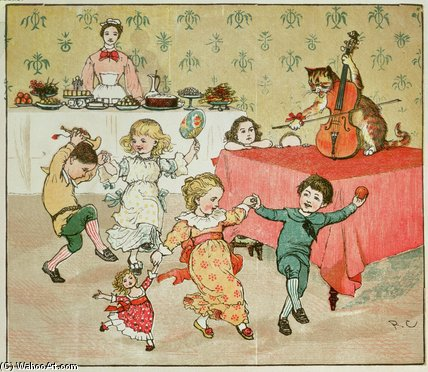 The Cat And The Fiddle And The Children's Party by Randolph Caldecott (1846-1886, United Kingdom)