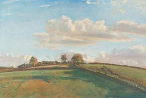 Alfred James Munnings - An Extensive Landscape With Sheep Grazing In The Fields