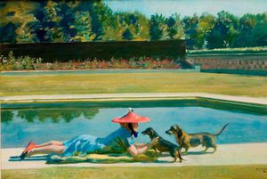 Alfred James Munnings - Mrs J. V. Rank At Druids- Lodge By The Swimming Pool