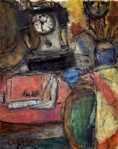 Bela (Adalbert) Czobel - Still Life With Clock