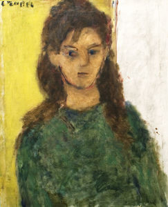 Bela (Adalbert) Czobel - Young Girl In Green