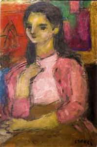Bela (Adalbert) Czobel - Young Girl In Pink