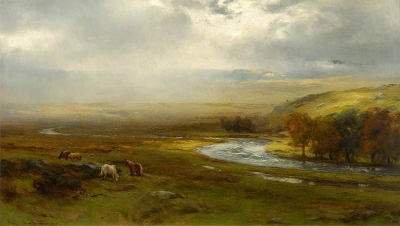 Rainstorm On Dartmoor, Devon by David Farquharson (1839-1907, United Kingdom)