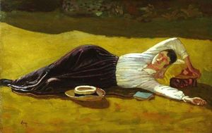 Derwent Lees - The Artist's Wife Lynda Reclin..