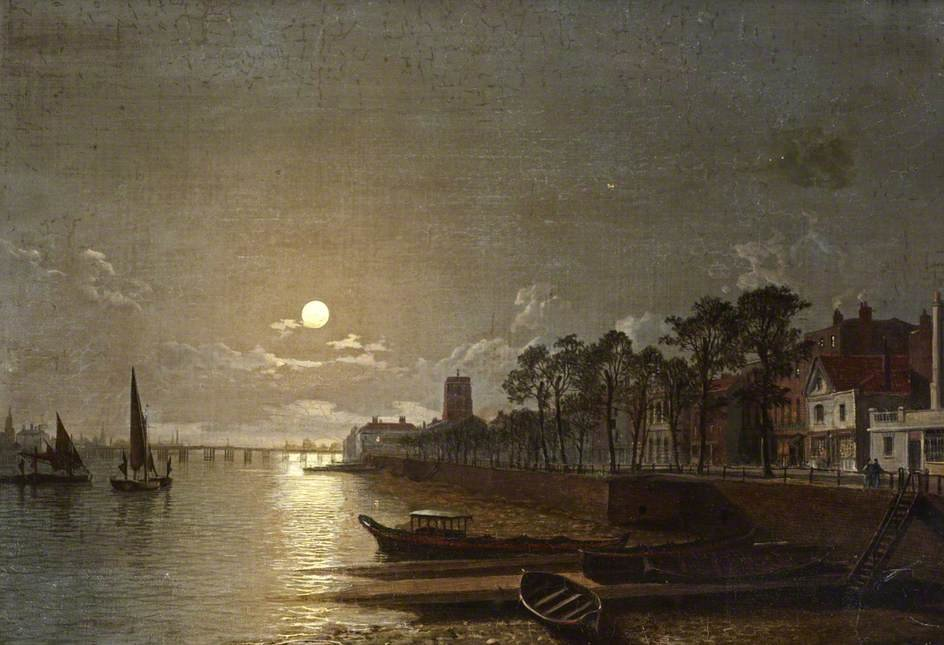Chelsea By Moonlight by Henry Pether (1828-1865, United Kingdom) | Art Reproduction | ArtsDot.com